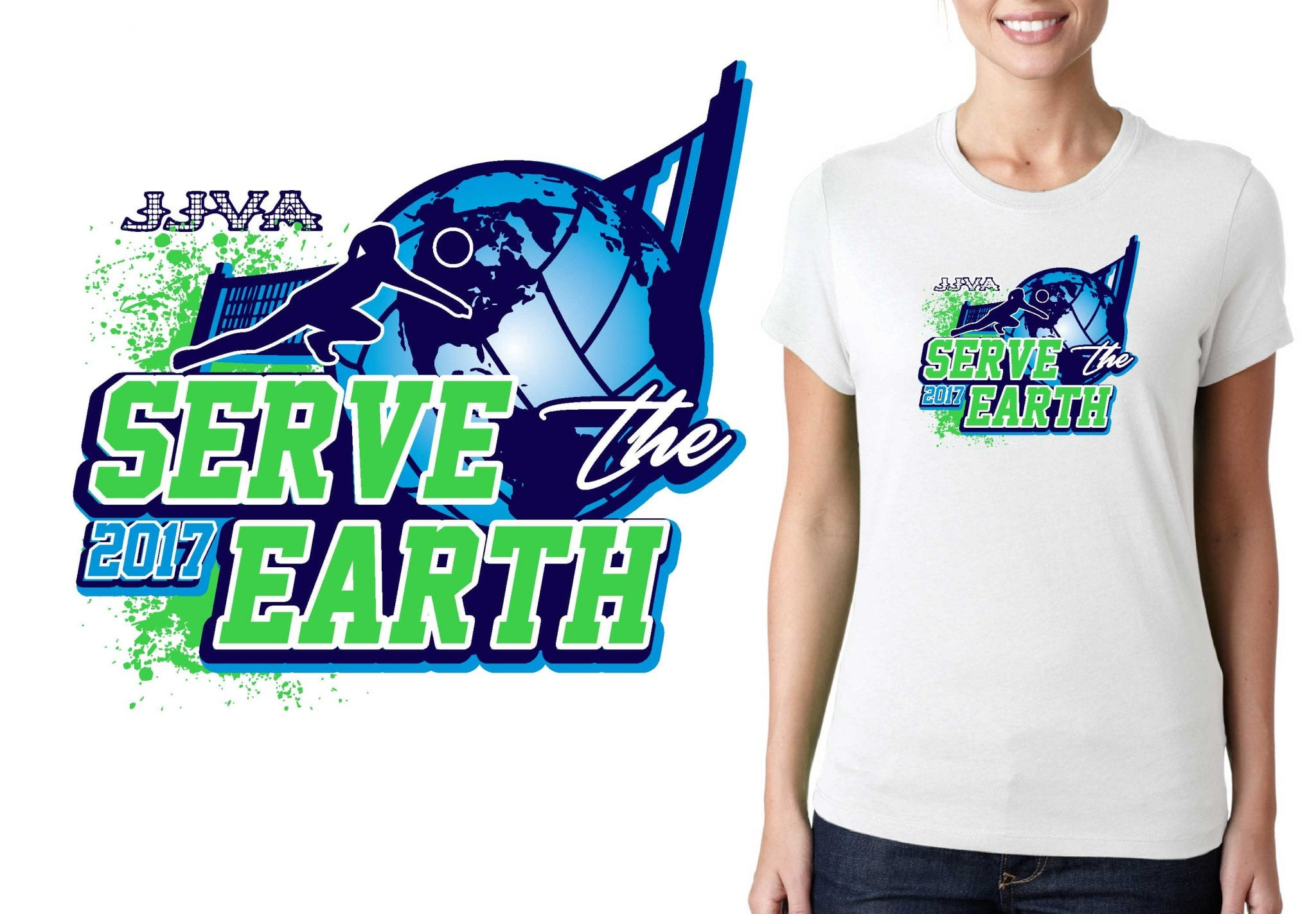 VOLLEYBALL TSHIRT LOGO DESIGN Serve-the-Earth BY UrArtStudio