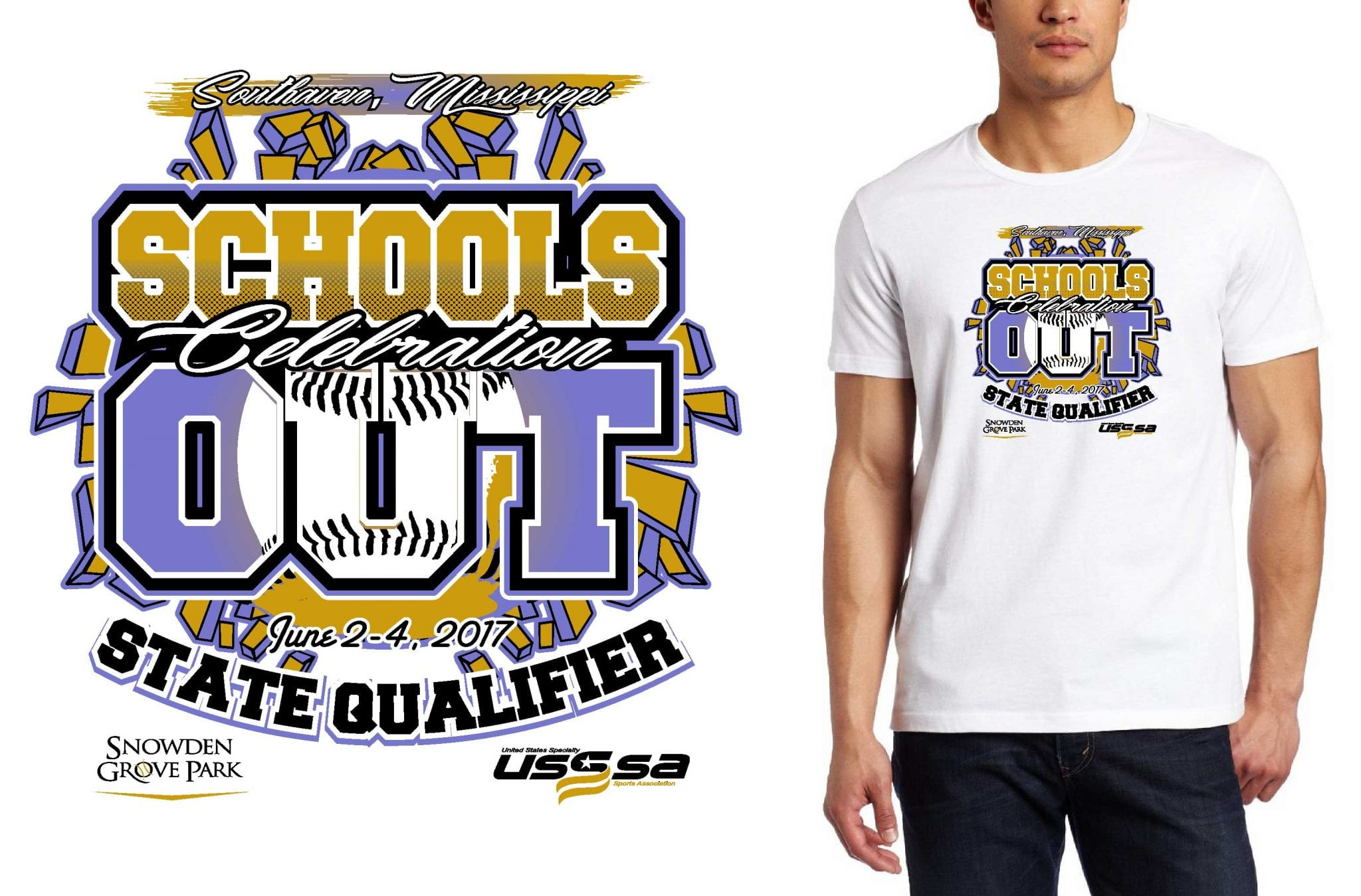 BASEBALL LOGO for Schools-Out-Celebration T-SHIRT UrArtStudio