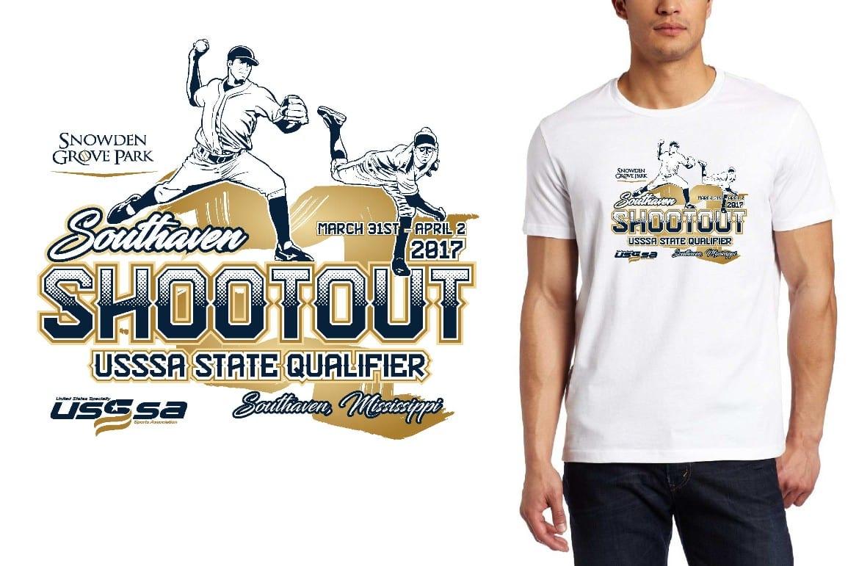 BASEBALL LOGO for Southaven-Shootout T-SHIRT UrArtStudio