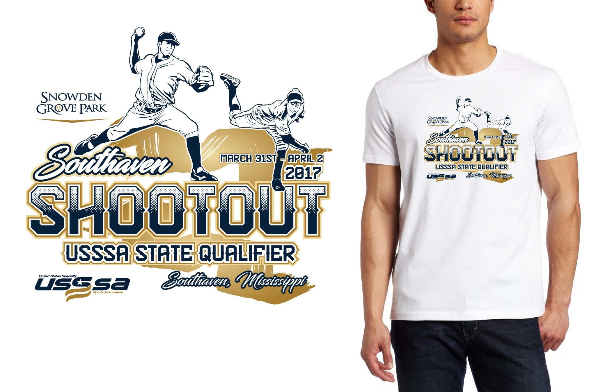 BASEBALL LOGO for Southaven-Shootout T-SHIRT UrArtStudio