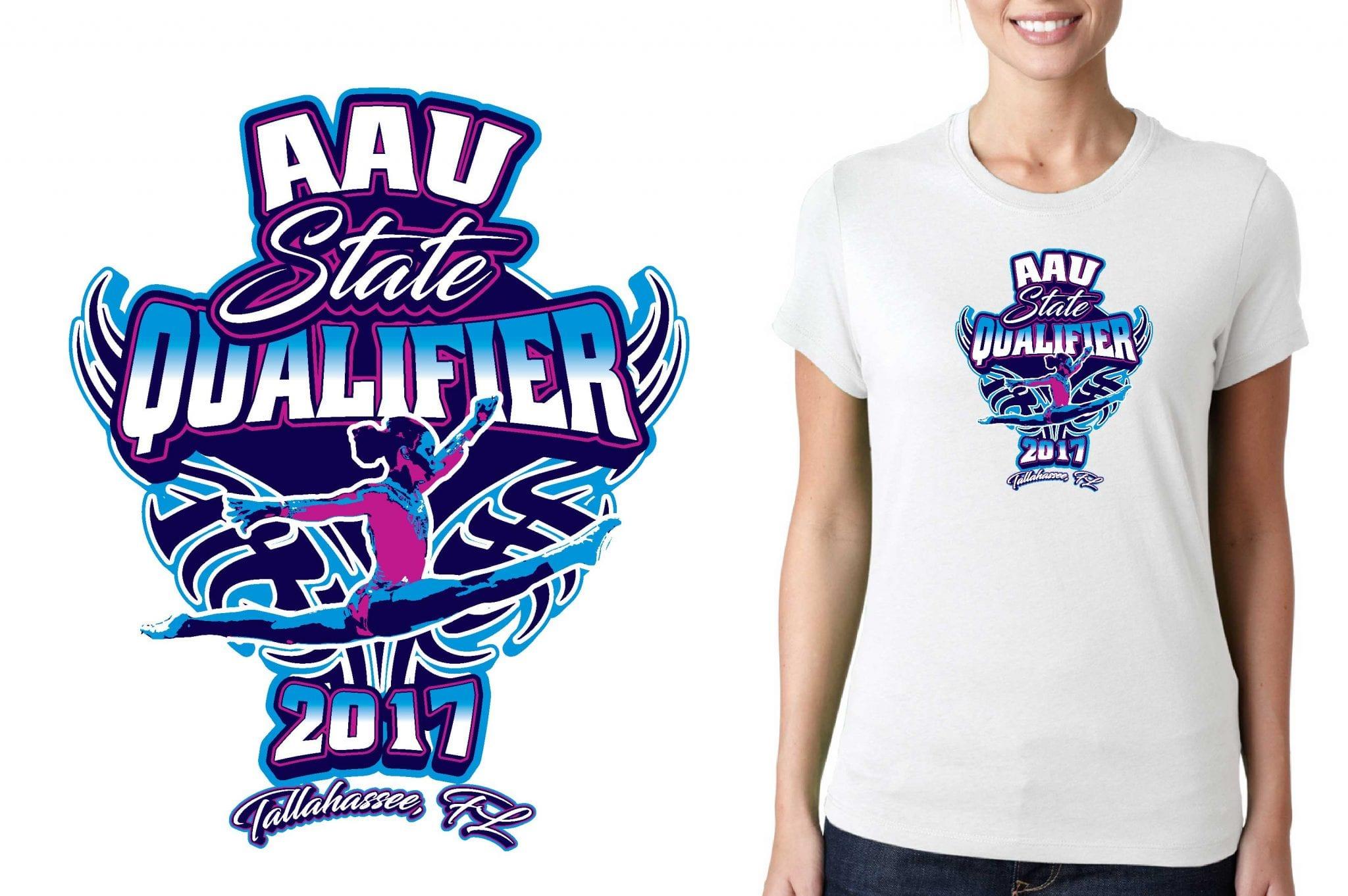 2017 1st AAU North Qualifier vector logo design for gymnastics t-shirt UrArtStudio