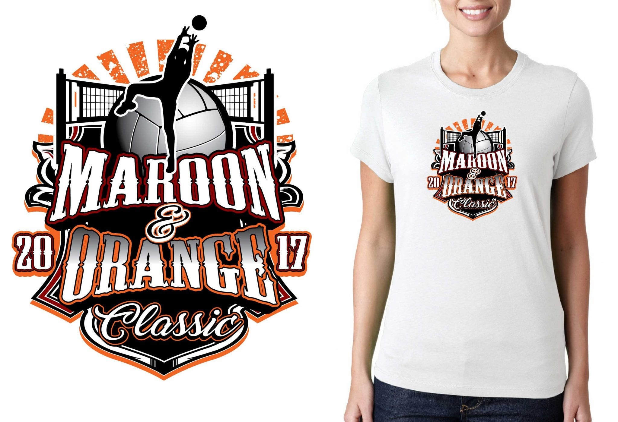 FRONT 2017 Maroon and Orange Classic vector logo design for volleyball t-shirt UrArtStudio