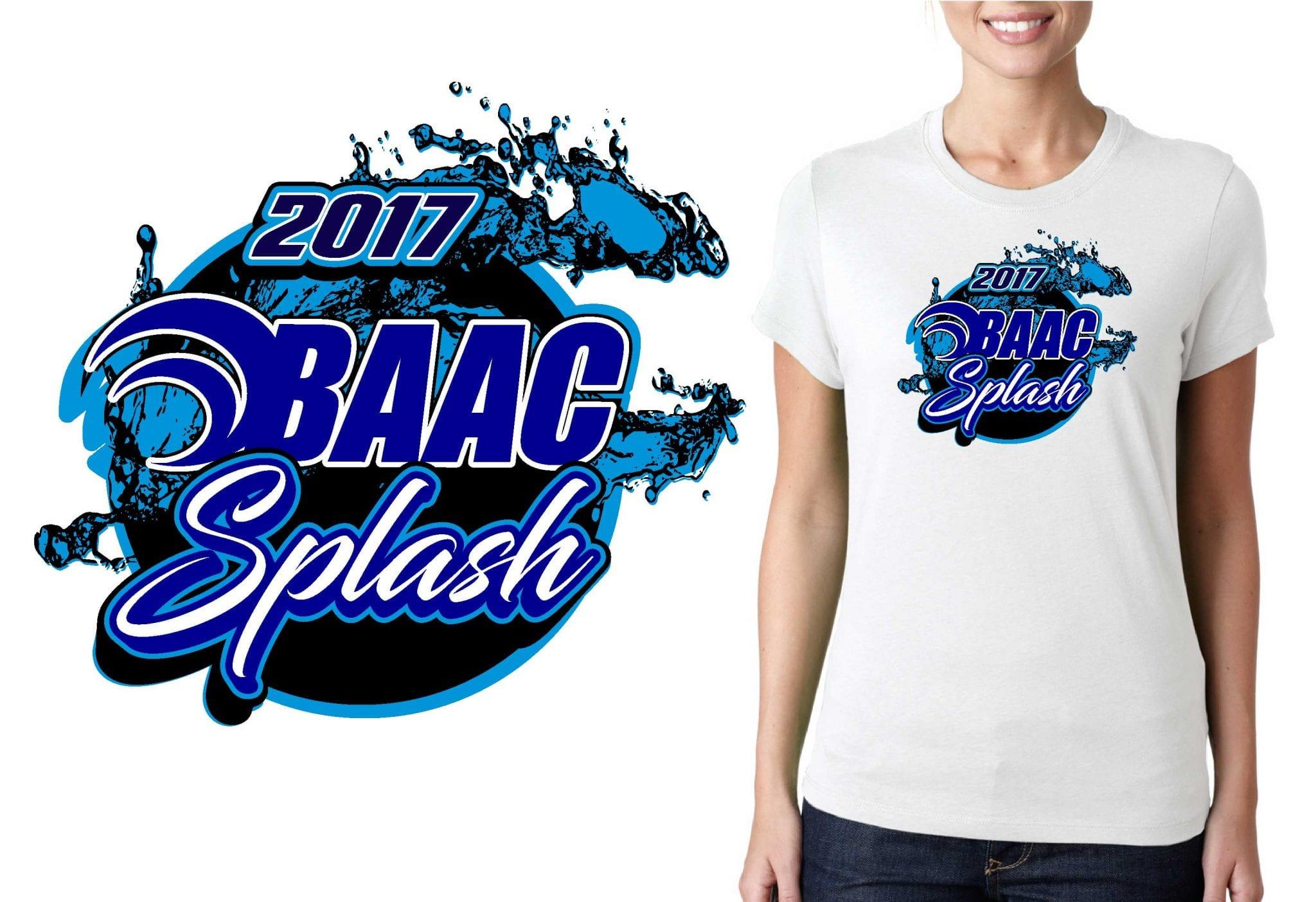 2017 BAAC Swim Meet vector logo design for swimming t-shirt UrArtStudio