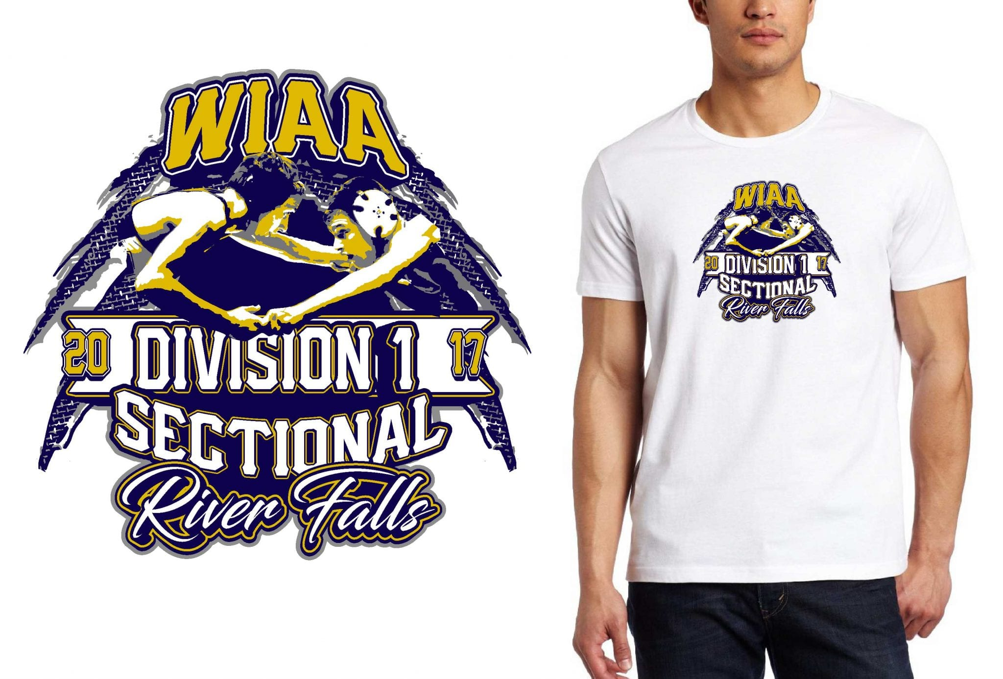 WRESTLING TSHIRT LOGO DESIGN Division-1-Sectional-A-River-Falls BY UrArtStudio