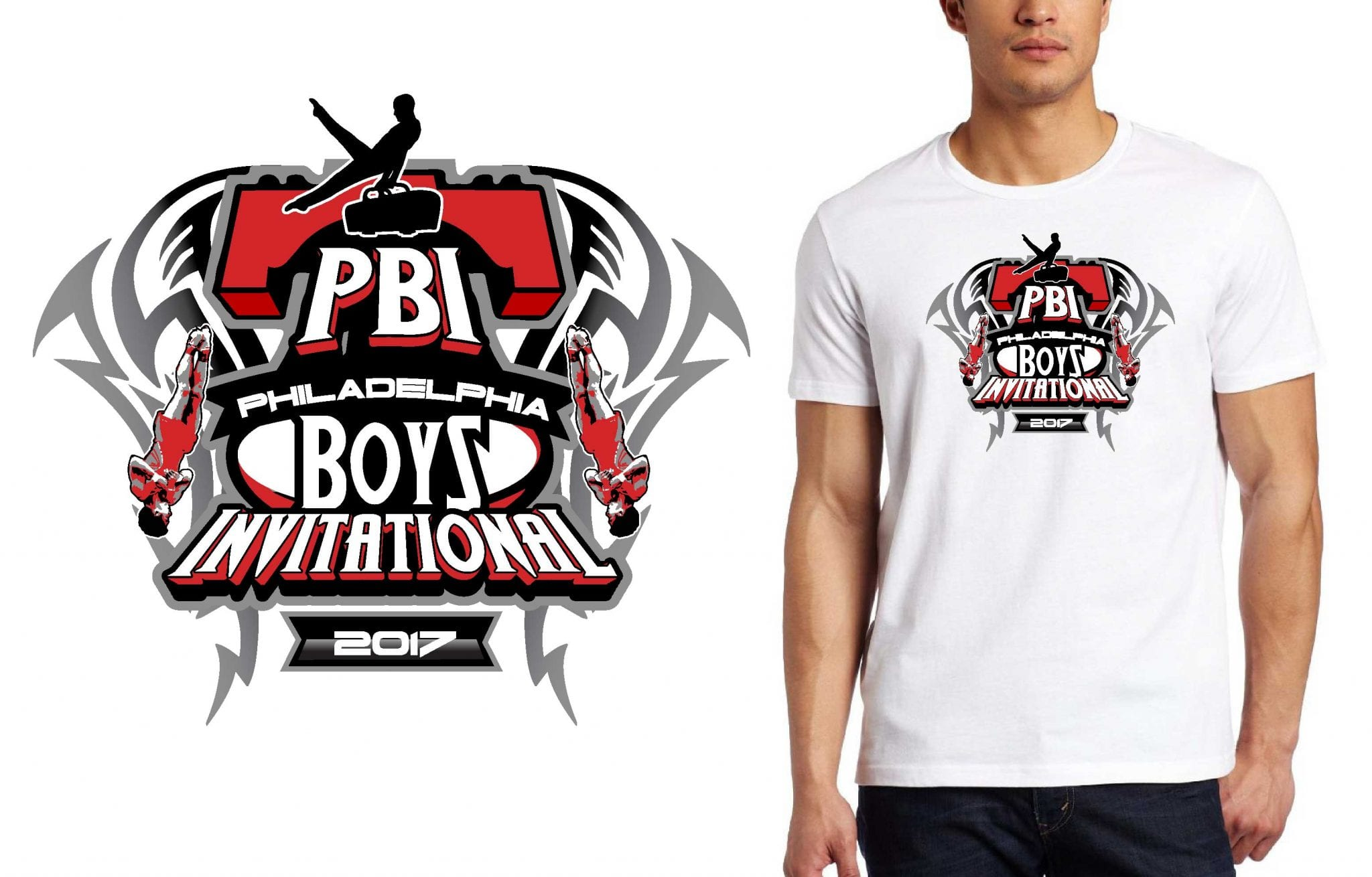 GYMNASTICS TSHIRT LOGO DESIGN Philadelphia-Boys-Invitational BY UrArtStudio