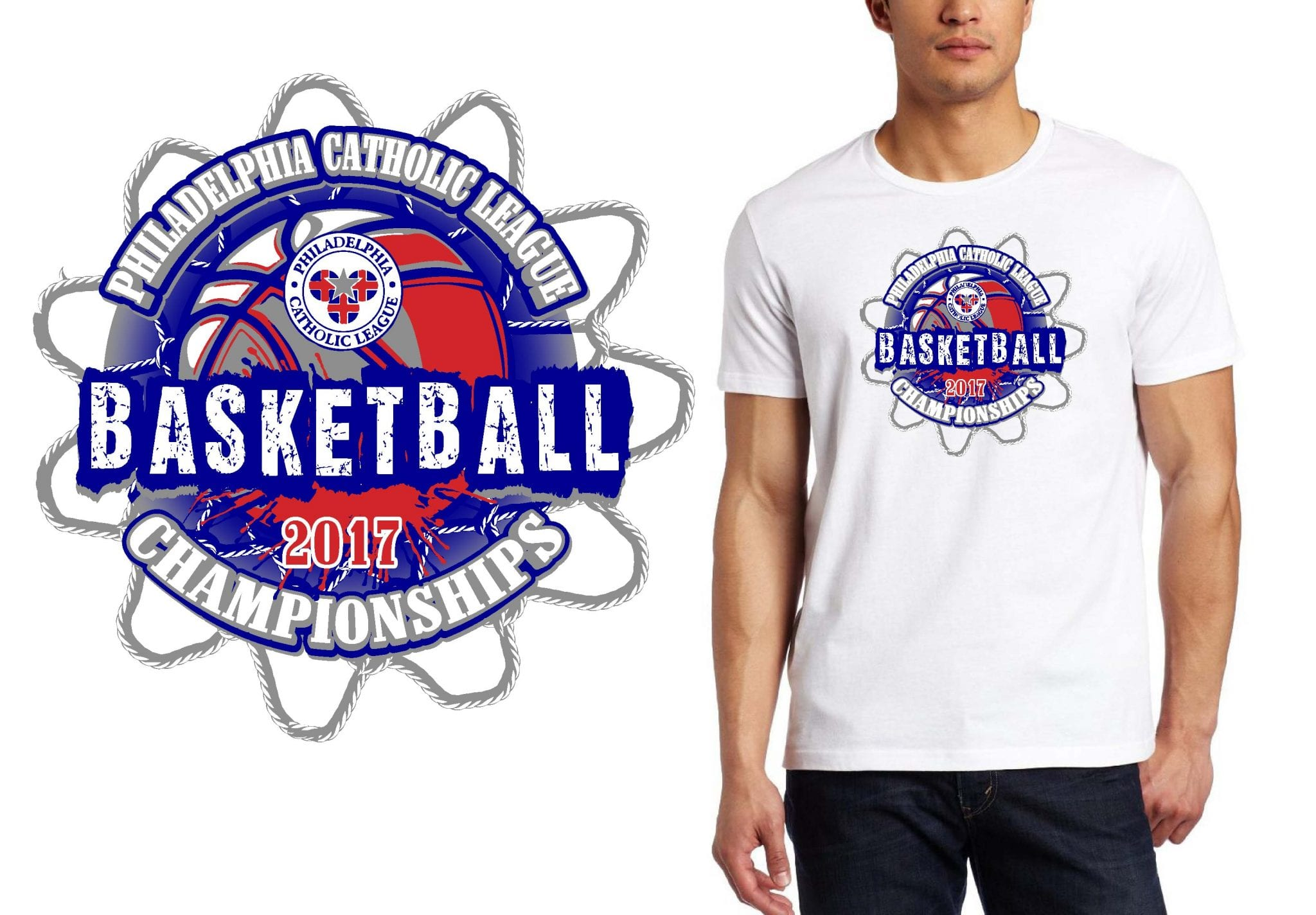 BASKETBALL TSHIRT LOGO DESIGN Philadelphia-Catholic UrArtStudio