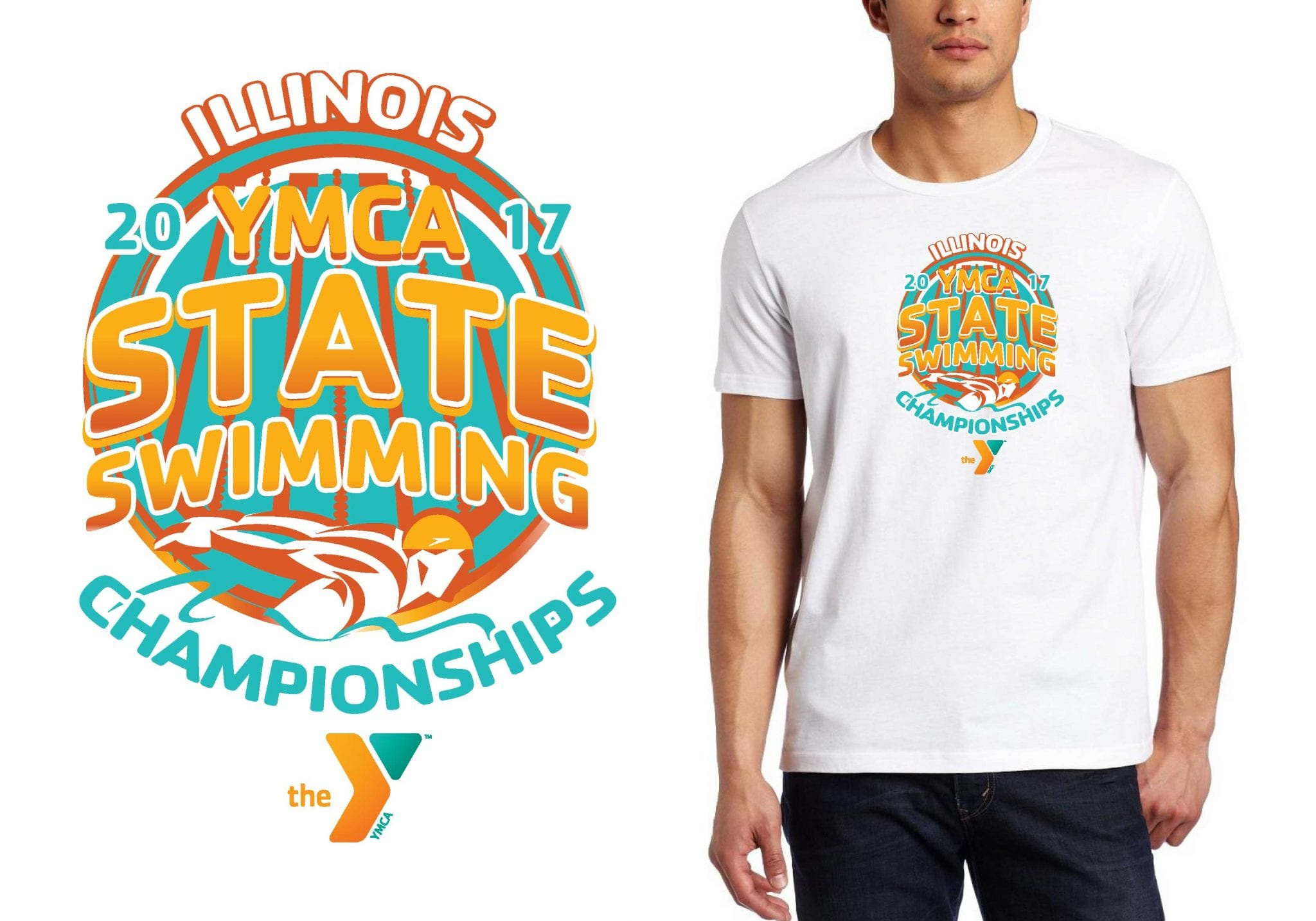 LOGO for Illinois-YMCA-State-Swimming-Championships T-SHIRT UrArtStudio