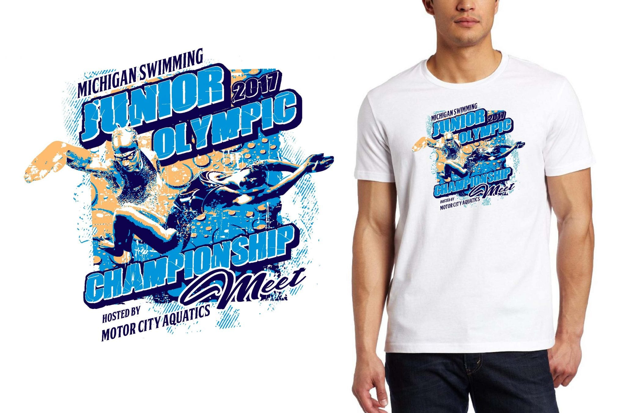 swimming TSHIRT LOGO DESIGN Junior-Olympic-Championship-Meet UrArtStudio