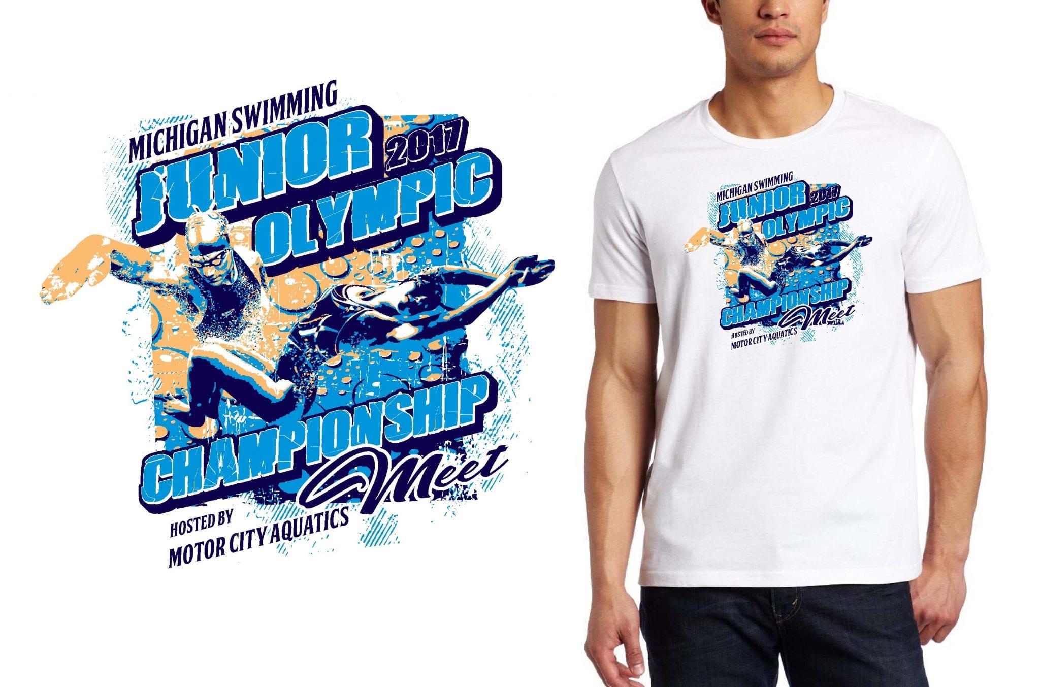 swimming TSHIRT LOGO DESIGN Junior-Olympic-Championship-Meet UrArtStudio