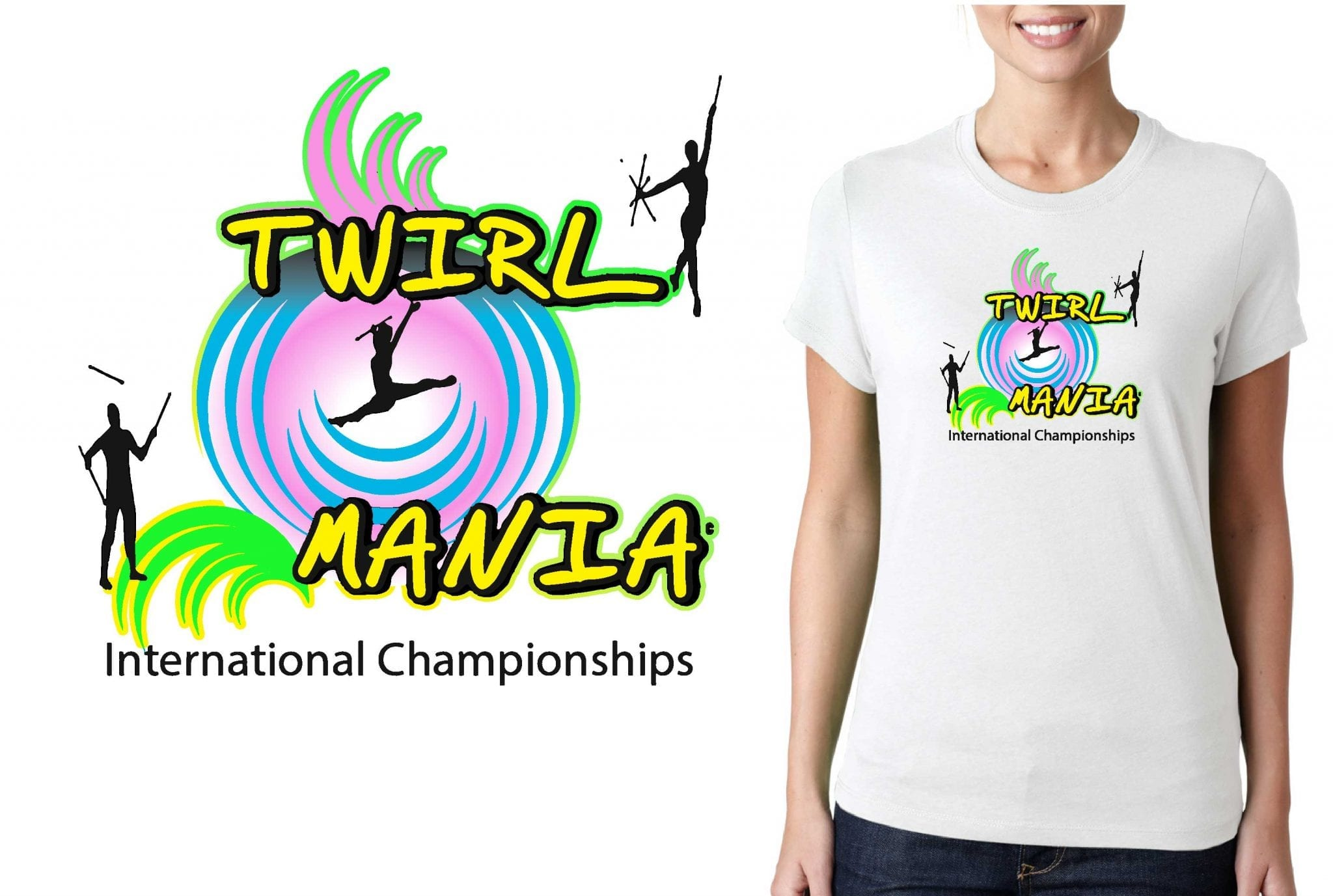 TSHIRT LOGO DESIGN 2017-Twirl-Mania-International-Championships UrArtStudio