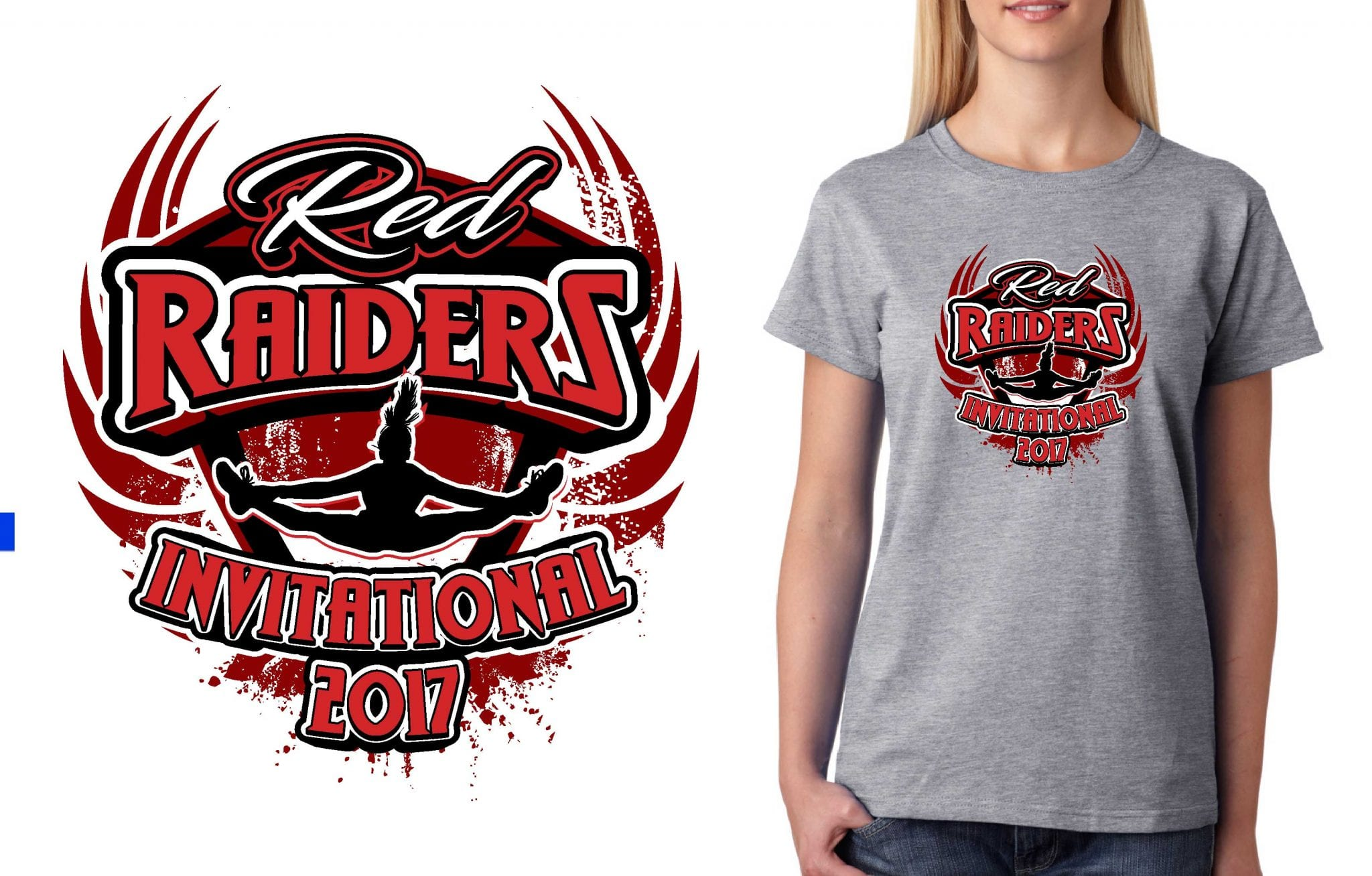 2017 Red Raider Invitational Patti vector logo design for cheer t-shirt UrArtStudio