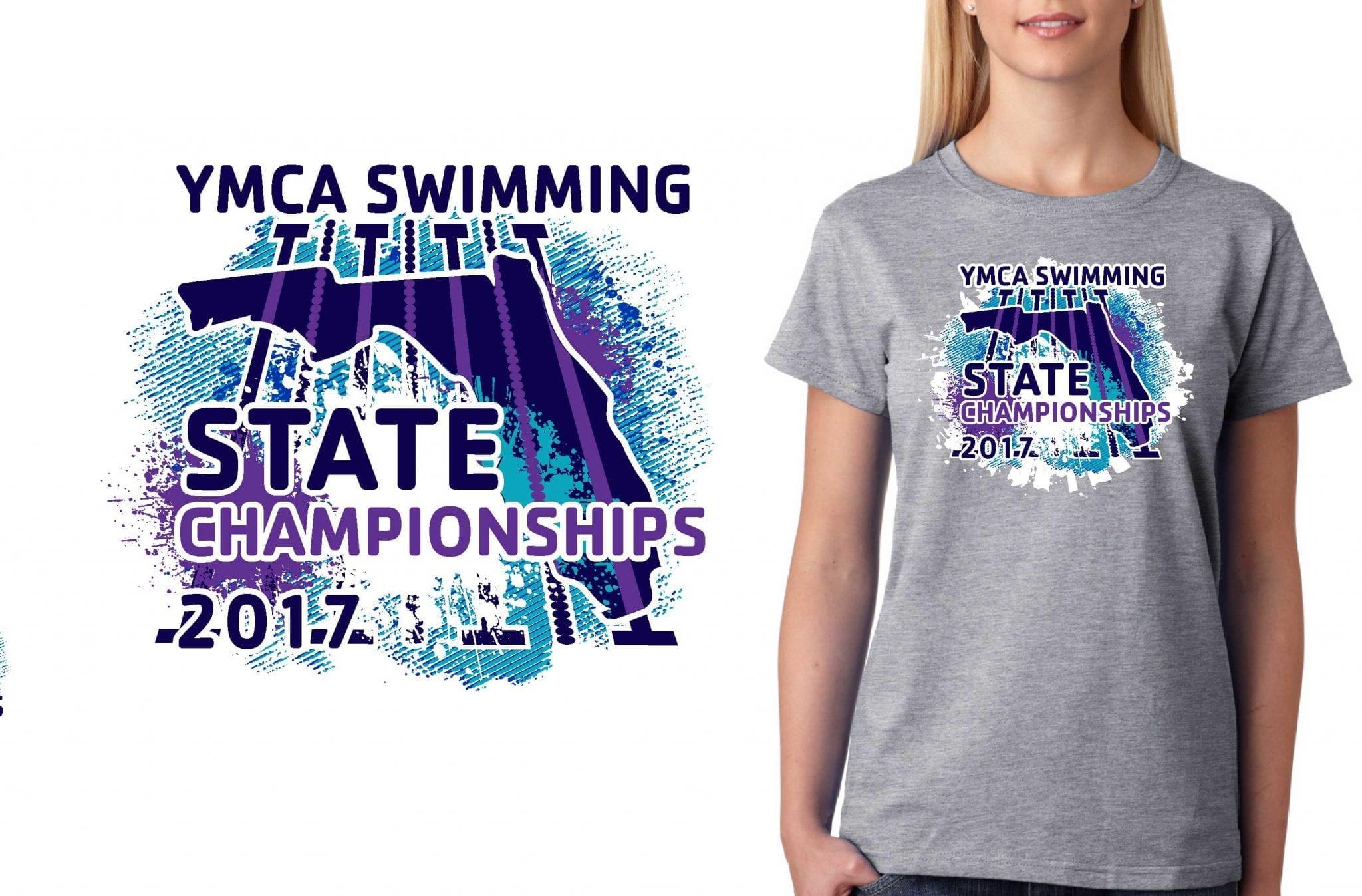 SWIMMING TSHIRT LOGO DESIGN YMCA-Swimming-State-Championships UrArtStudio