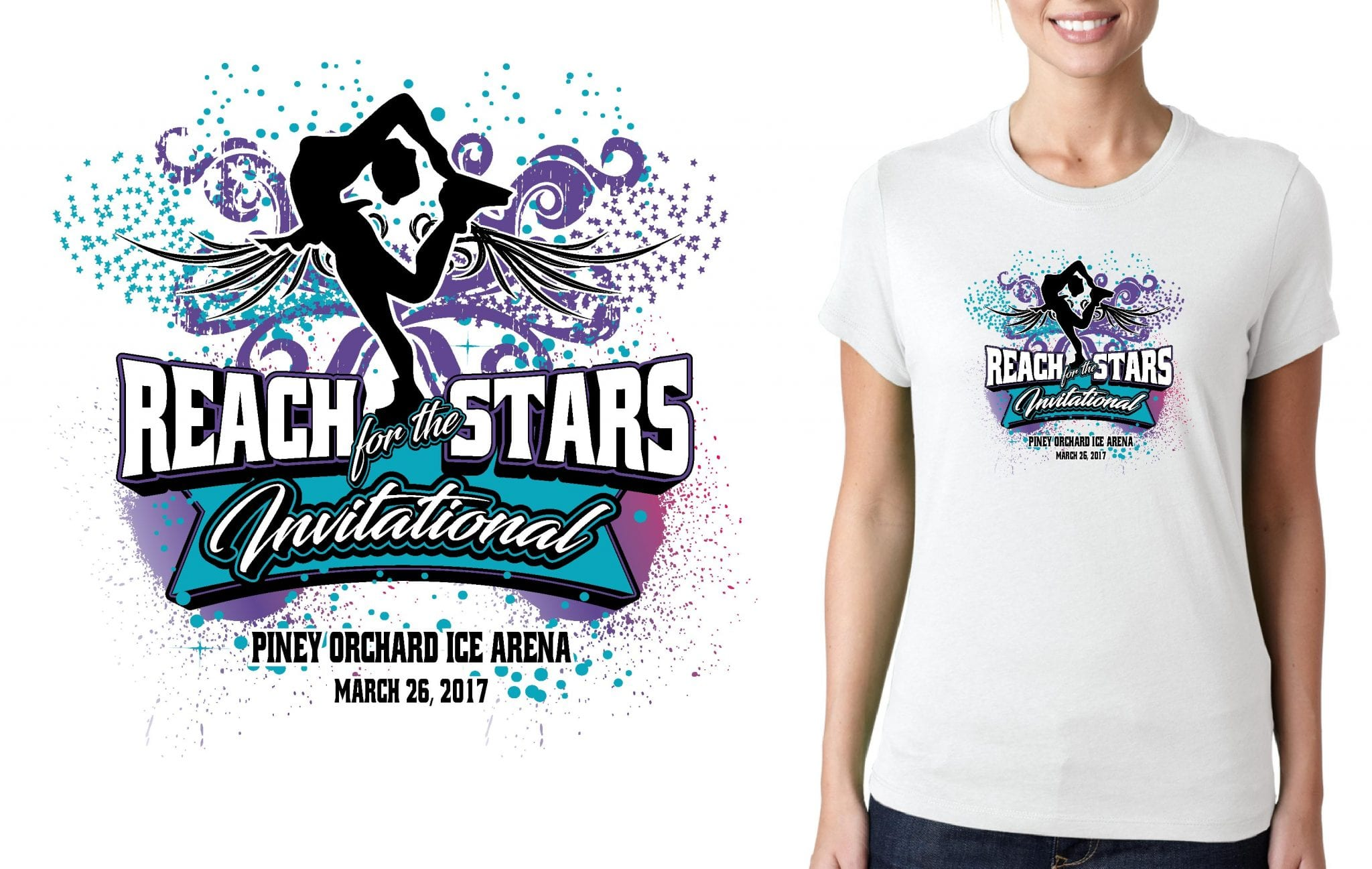 FIGURE SKATING LOGO for Reach-for-the-Stars T-SHIRT UrArtStudio