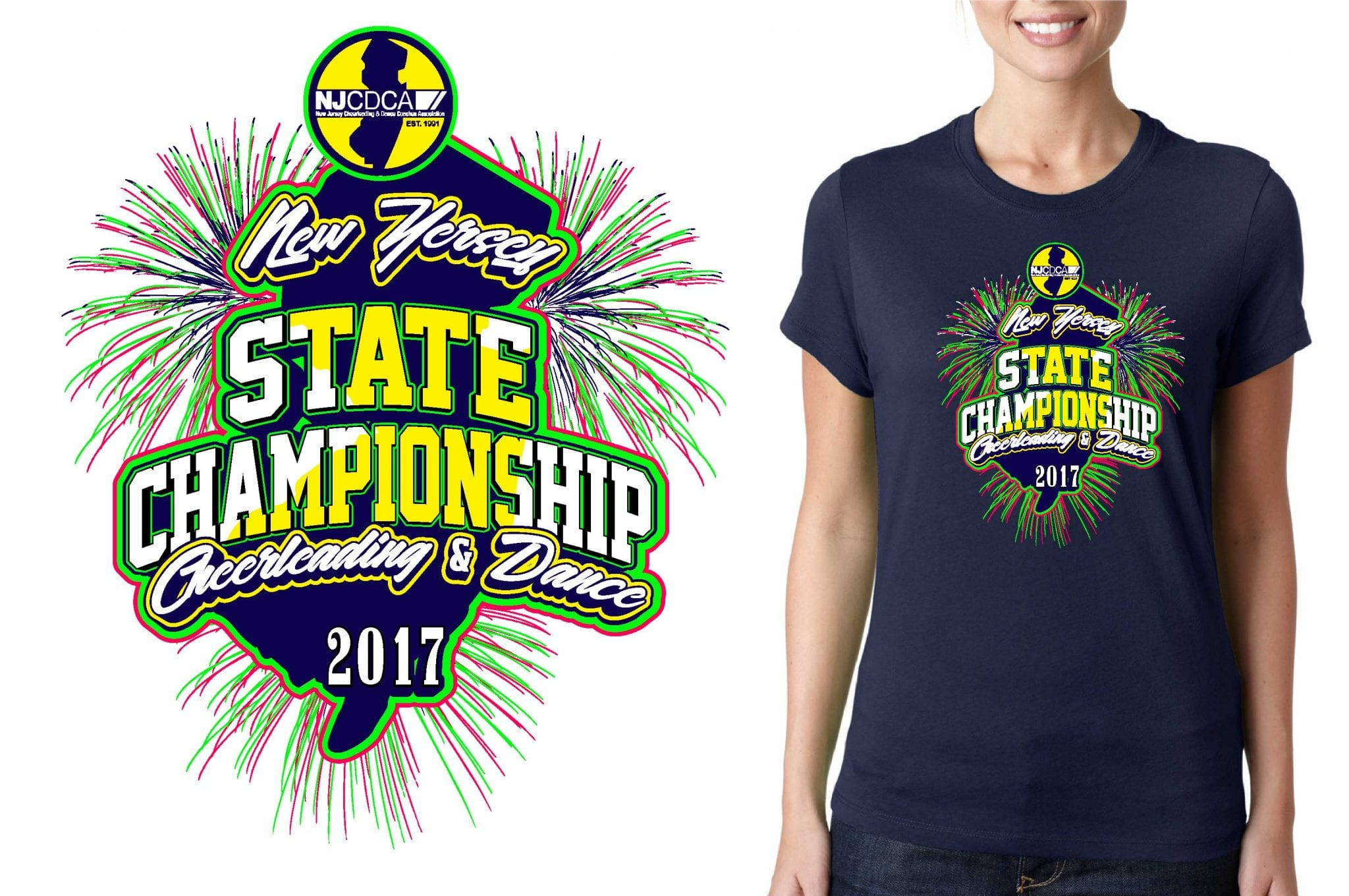TSHIRT LOGO DESIGN NJCDCA-State-Cheerleading-Dance-Recreation-Championships UrArtStudio