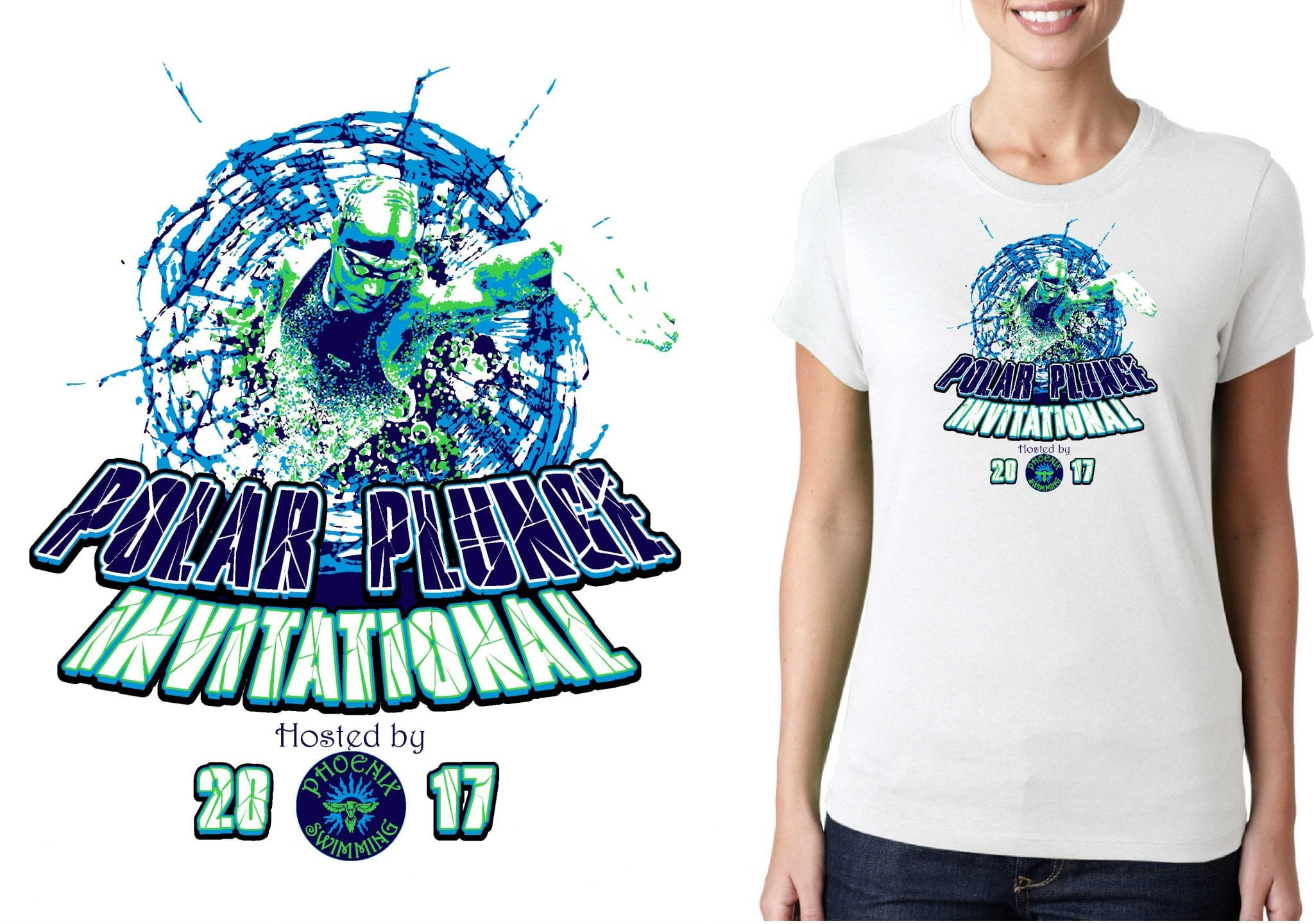 SWIMMING LOGO for Phoenix-Ice-Breaker-Invitational T-SHIRT UrArtStudio