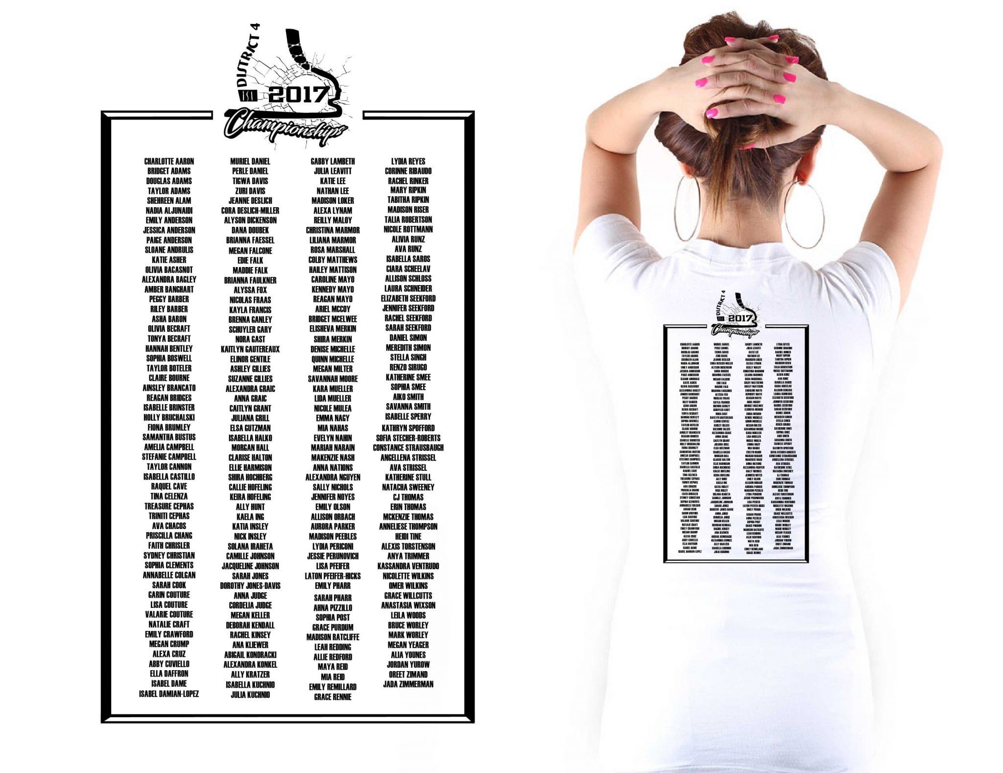 FIGURE SKATING T SHIRT ROSTER FRAME DESIGN ONE COLOR BLACK BY UrArtStudio FOR 2017 ISI District IV Championships