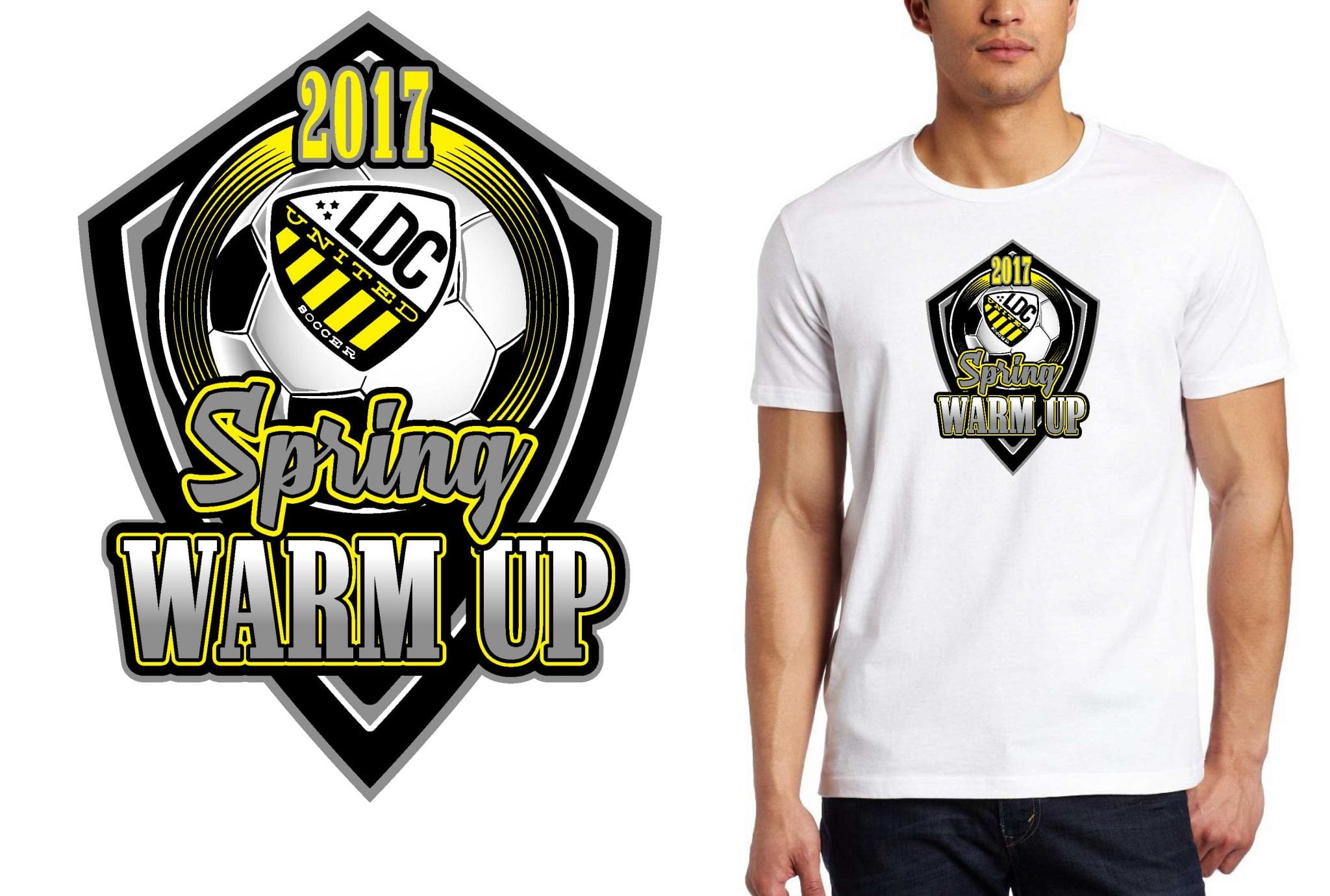 SOCCER T SHIRT LOGO DESIGN LDC Spring Warm Up BY UrArtStudio