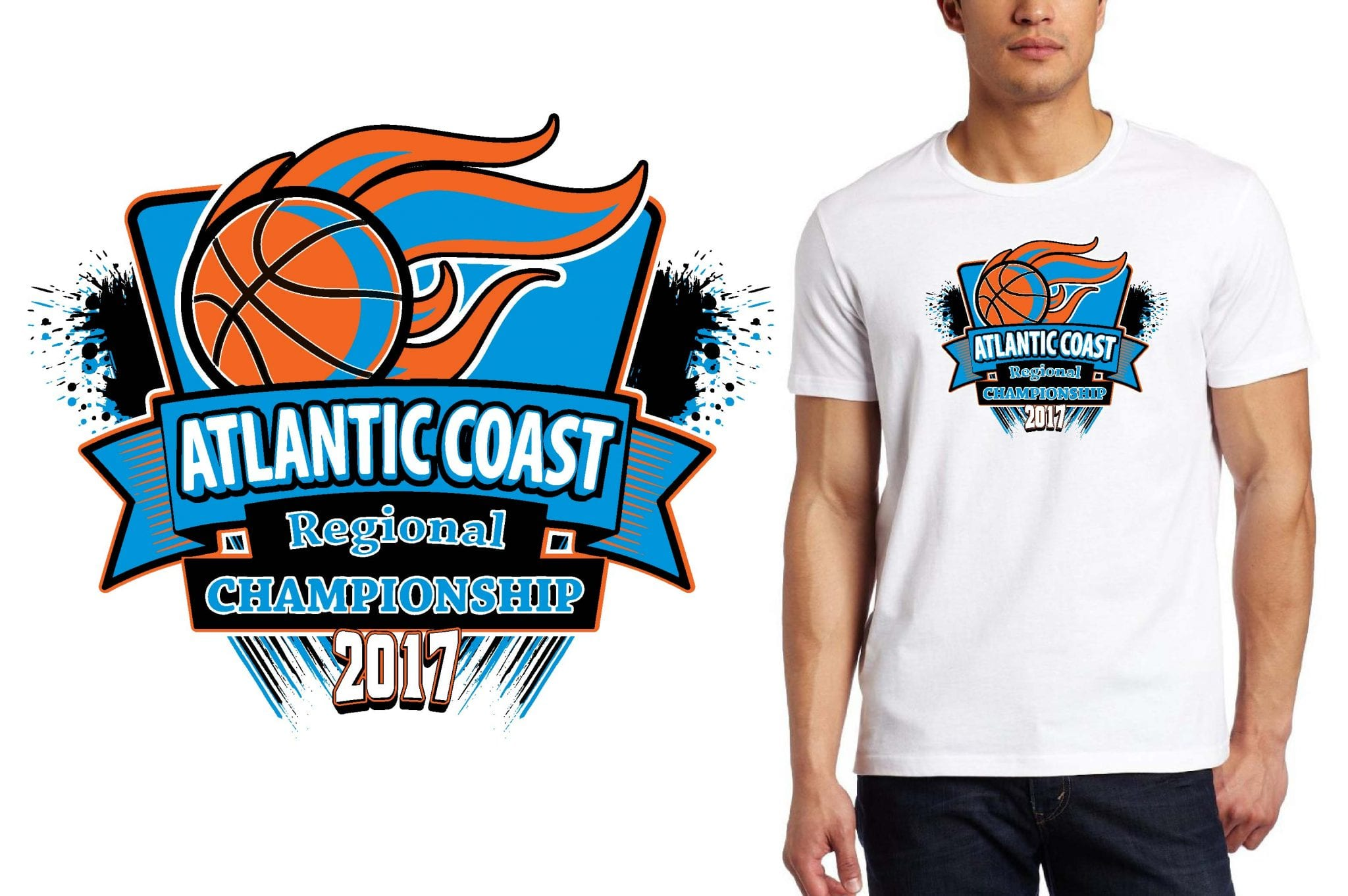 BASKETBALL T SHIRT LOGO DESIGN Atlantic Coast BY UrArtStudio