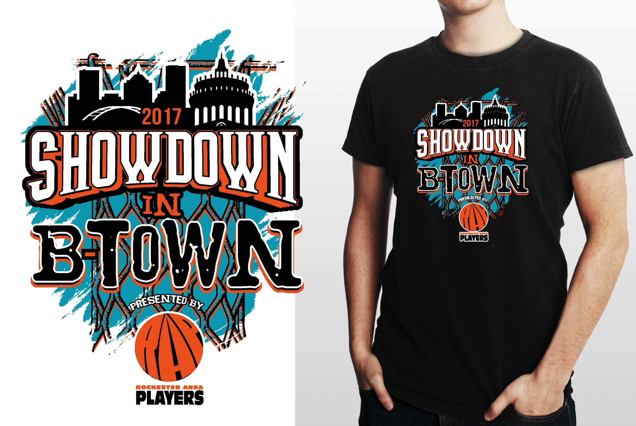 BASKETBALL T SHIRT LOGO DESIGN SHOWDOWN IN BTOWN BY UrArtStudio