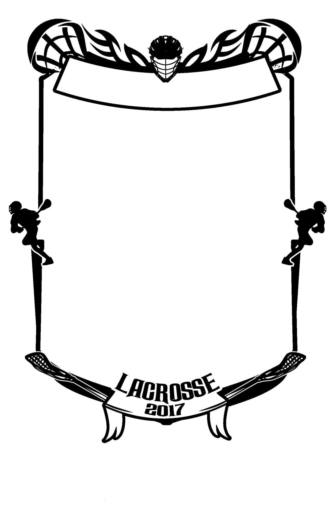 LACROSSE T SHIRT ROSTER FRAME DESIGN ONE COLOR BLACK BY UrArtStudio