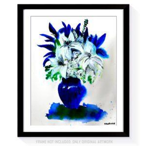 Beautiful in Blue STILL LIFE ACRYLIC PAINTING DRANITSIN