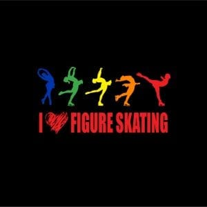 I LOVE FIGURE SKATING vector logo design for t-shirt