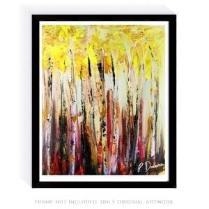 BIRCH TREE FOREST, LANDSCAPE ACRYLIC PAINTING