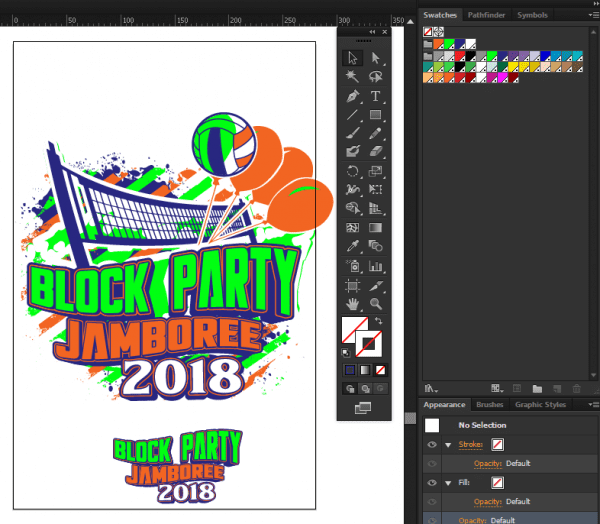 BLOCK PARTY JAMBOREE VOLLEYBALL 2018 LOGO DESIGN FOR T-SHIRT