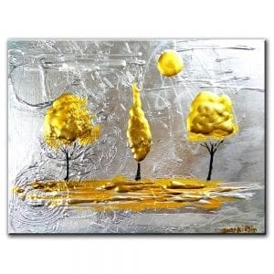 GOLD ON SILVER, landscape painting