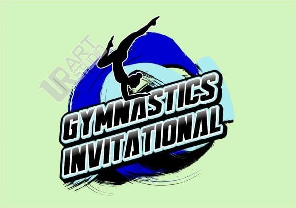 GYMNASTICS INVITATIONAL VECTOR LOGO DESIGN FOR T-SHIRT