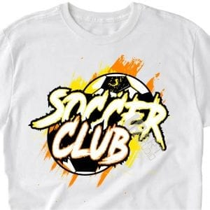 SOCCER CLUB vector logo design for t-shirt color separated