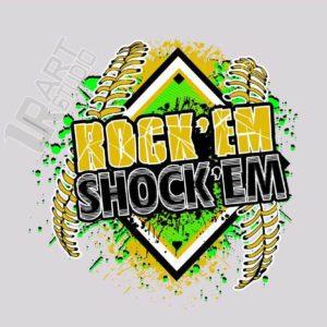 ROCK'EM SHOCK'EM SOFTBALL VECTOR LOGO DESIGN FOR T-SHIRT