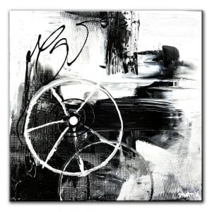 THE WHEEL OF PROGRESS, BLACK WHITE, ABSTRACT PAINTING
