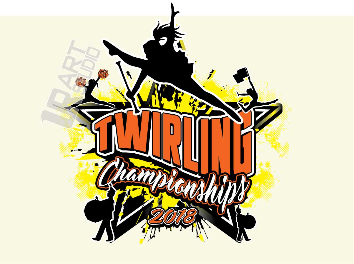 TWIRLING BATON VECTOR LOGO DESIGN FOR T-SHIRT