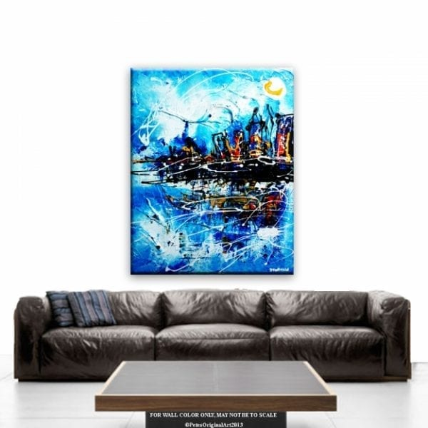 VIEW TO GALAXY, CITYSCAPE, PAINTING