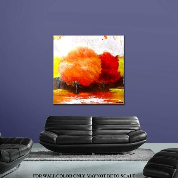 Original landscape abstract painting - ORANGE GARDEN - by Dranitsin