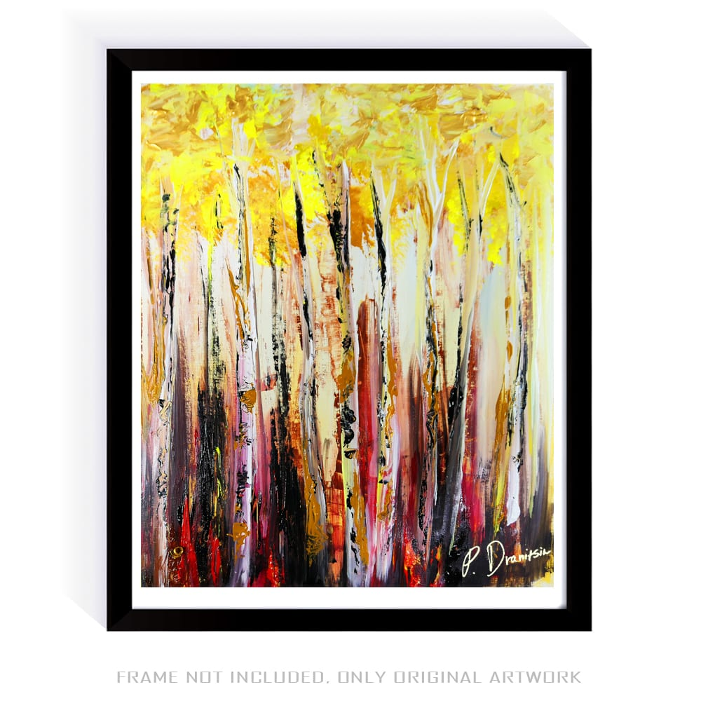 BIRCH TREE FOREST, ABSTRACT PAINTING BY PETER DRANITSIN