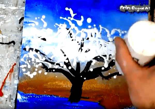 Landscape painting tree small canvas