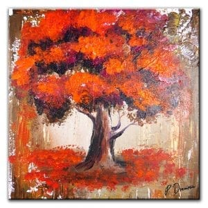 MAGENTA ORANGE TREE, ABSTRACT PAINTING BY PETER DRANITSIN