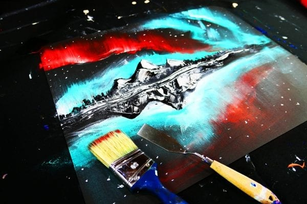 Painting Northern Lights for beginners, simple and quick step by step process