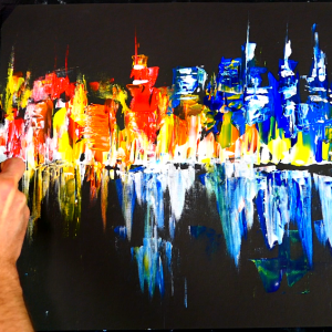 Painting night time cityscape using only pallet knife