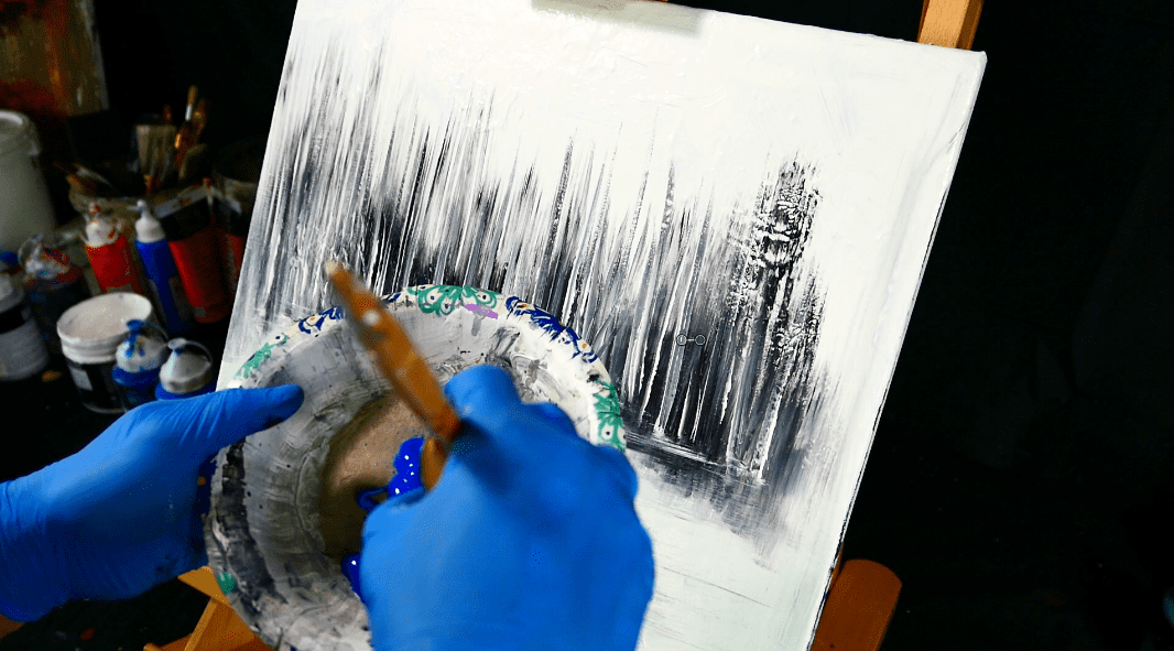 painting trees with a fan brush step by step acrylic - 1066×591