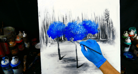 3 blue trees on ice - painting video step by step demonstration