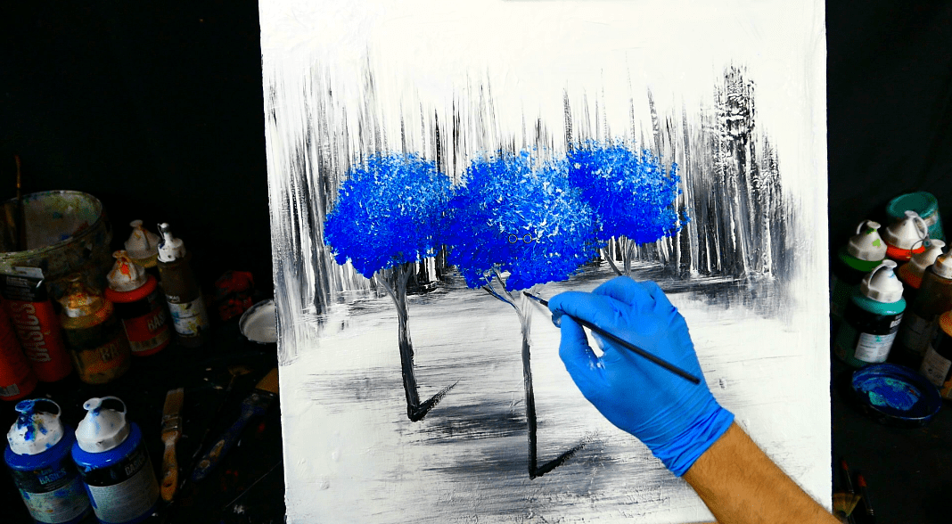 painting trees with a fan brush step by step acrylic - 1068×588