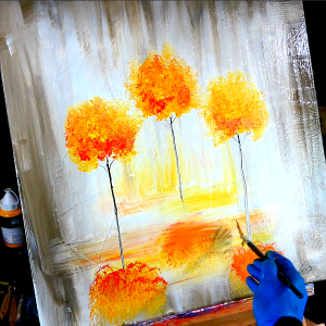 3 autumn trees and their beautiful reflection in water below - abstract landscape painting