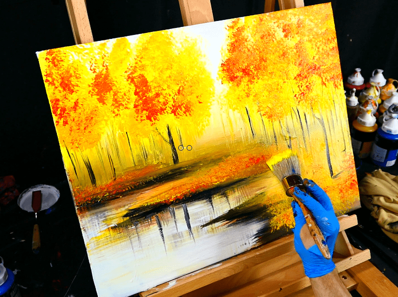 A Fall season landscape painting by Peter Dranitsin autumn leaves, trees, lake