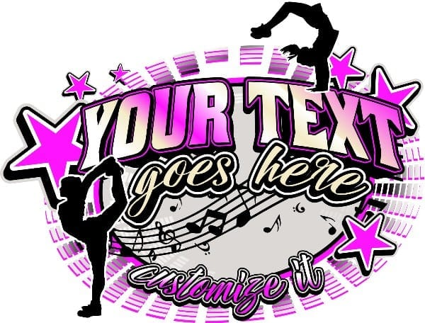 CHEER AND DANCE t-shirt logo design with adjustable text and all graphic elements