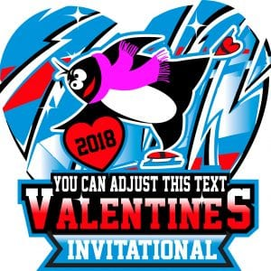 ICE SKATING VALENTINES INVITATIONAL LOGO DESIGN WITH ADJUSTABLE TEXT 2018