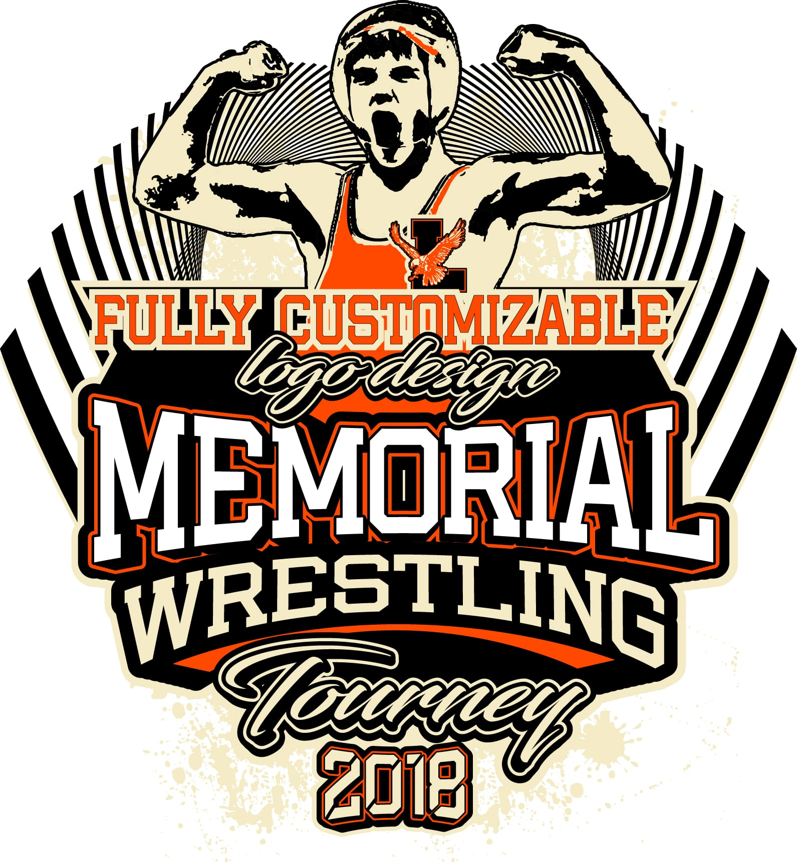 MEMORIAL WRESTLING TOURNEY FULLY CUSTOMIZABLE T-SHIRT LOGO DESIGN