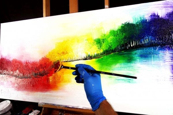 Painting magical rainbow forest abstract painting on large canvas step by step video guide